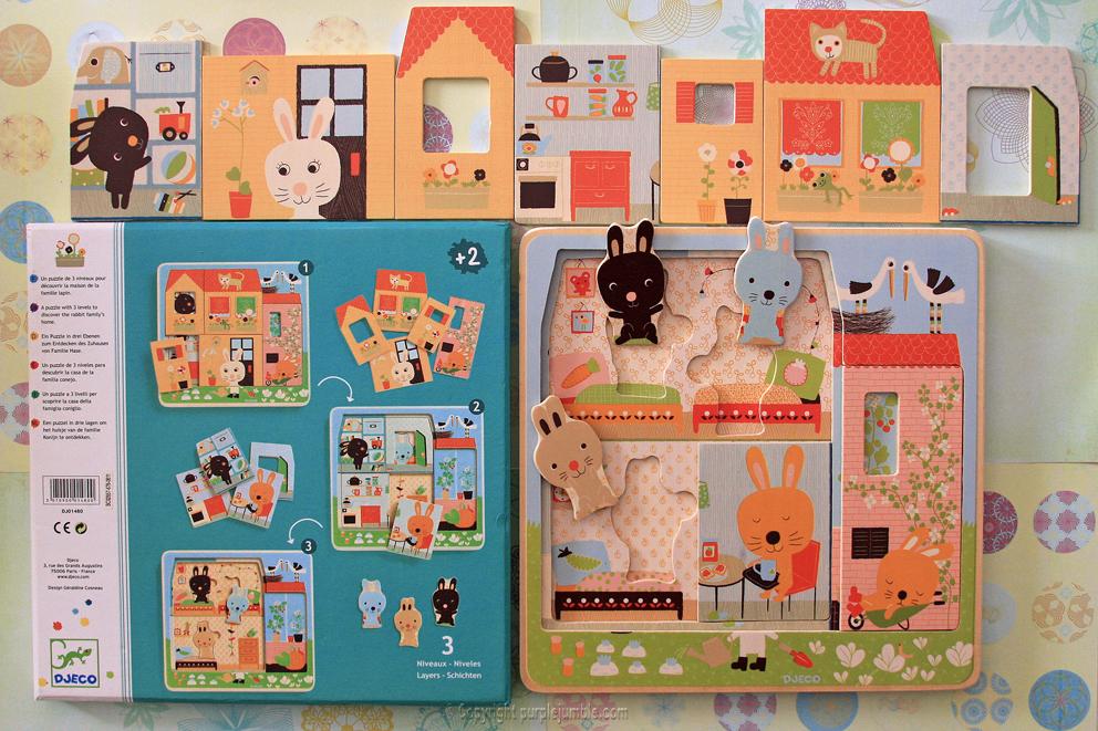djeco puzzle 3 niveaux lapins