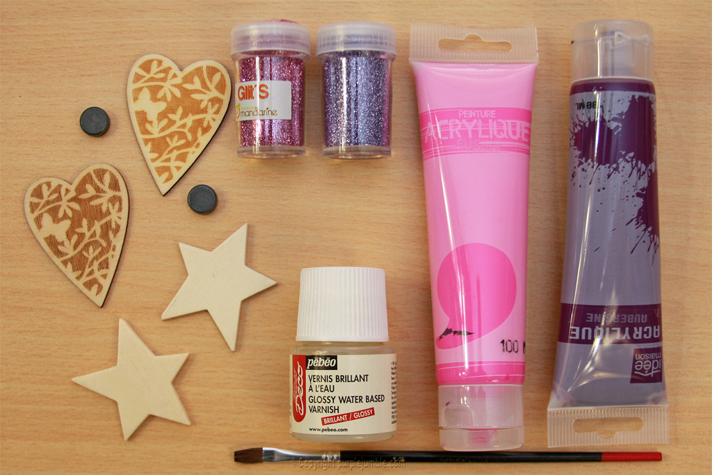 magnets bois peinture paillettes