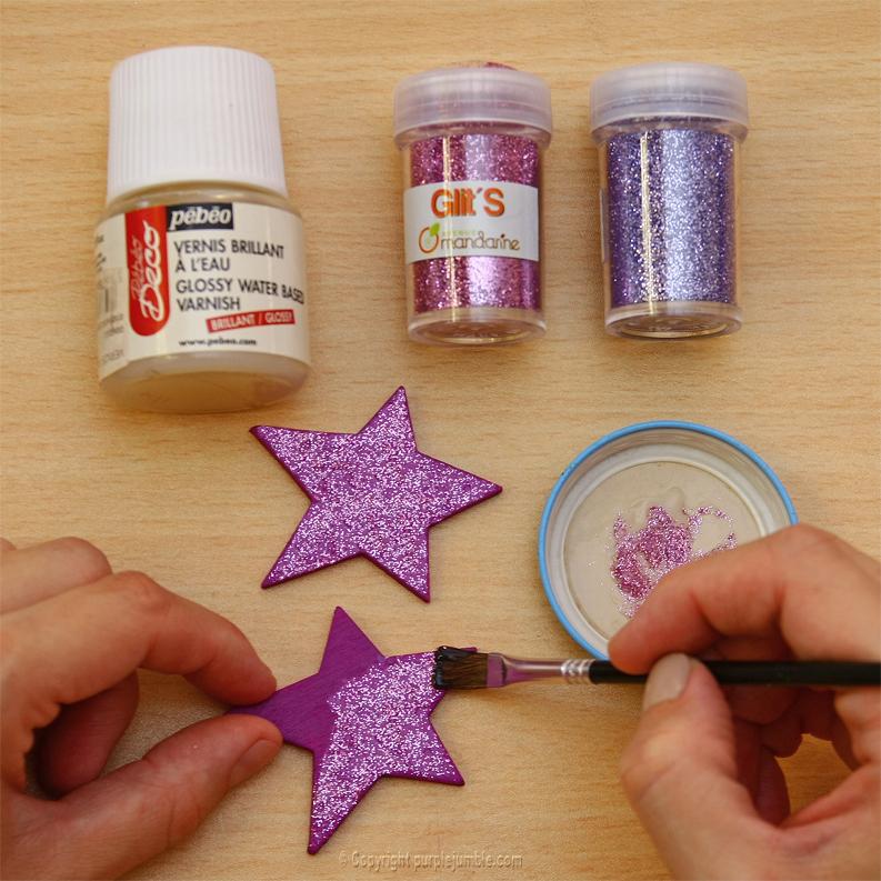 magnets bois étoile peinture paillettes