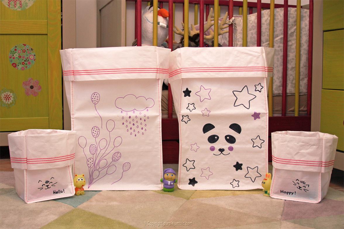 diy sacs de rangement pour enfants purple jumble. Black Bedroom Furniture Sets. Home Design Ideas