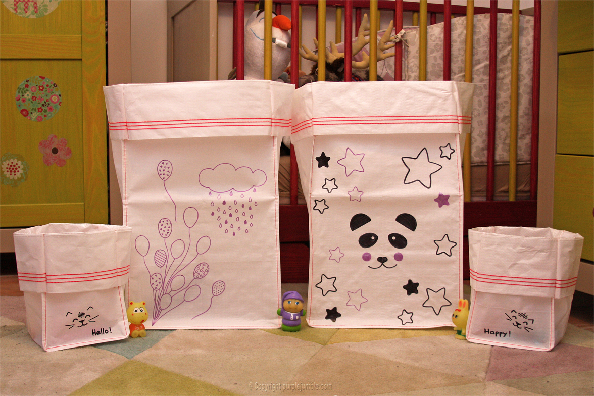 diy sacs de rangement pour enfants purple jumble. Black Bedroom Furniture Sets. Home Design Ideas