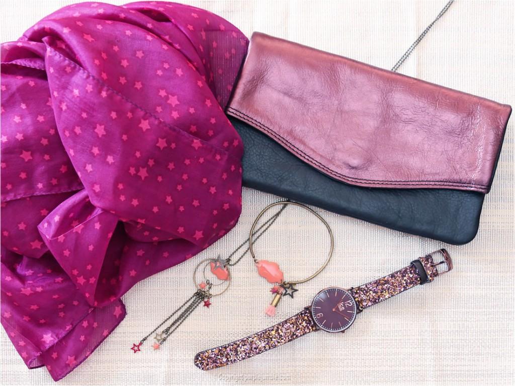 purple foulard montre pochette bijoux