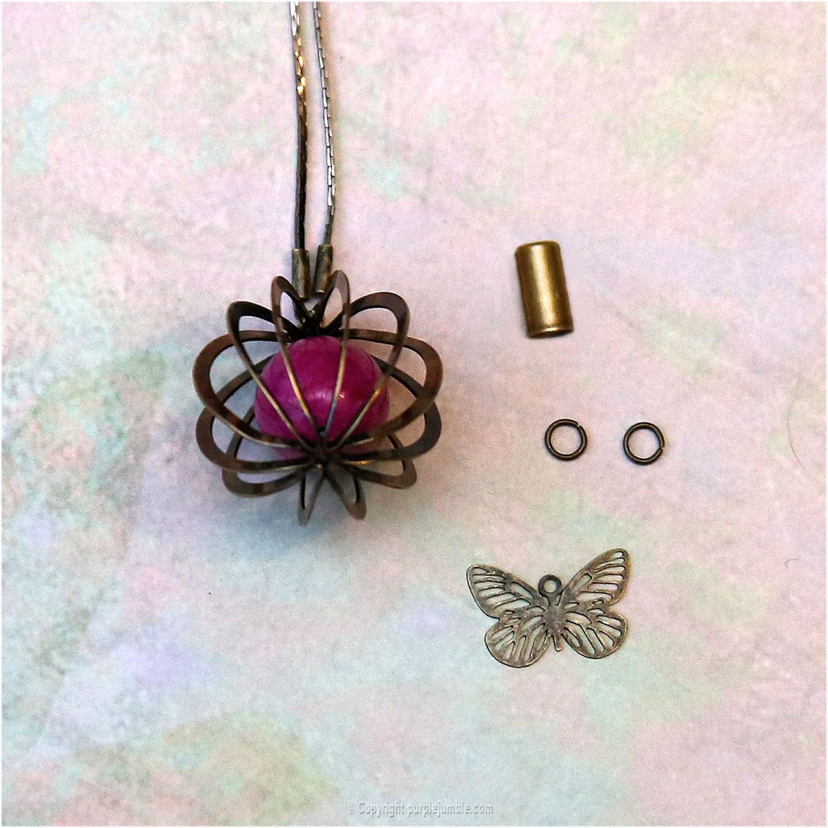 DIY sautoir boule métal papillon