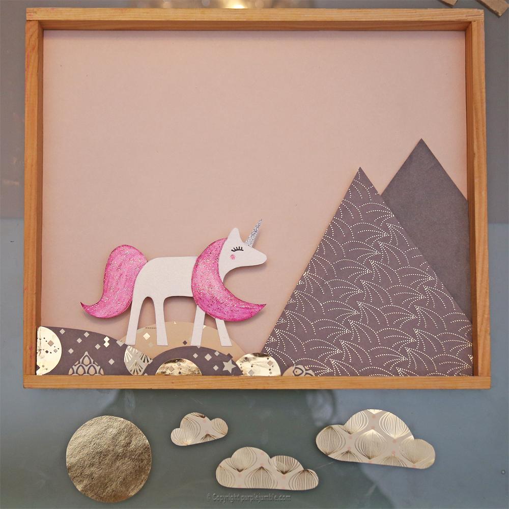 diy cadre licorne papier découpé 3D