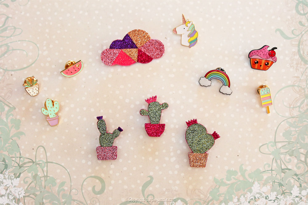 diy broche cactus paillettes