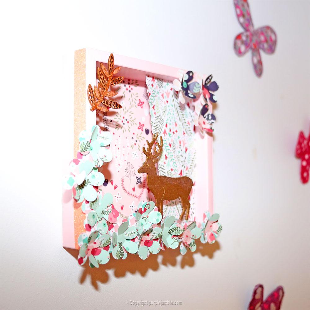 diy cadre cerf fleurs
