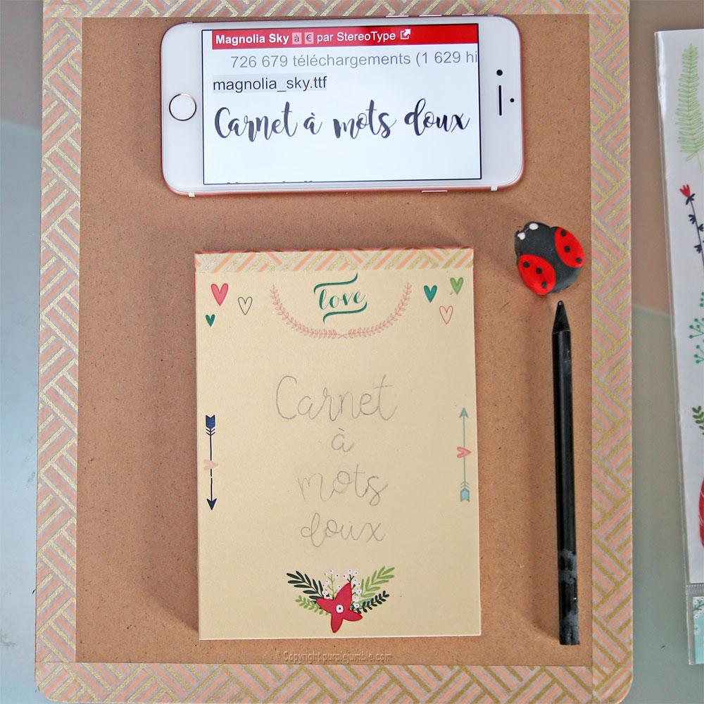 diy carnet à mots doux customisé message