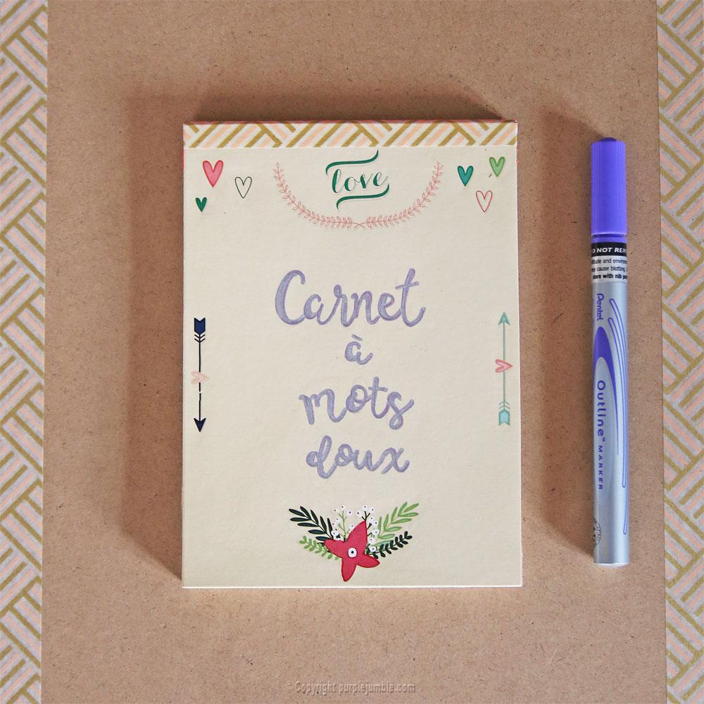 diy carnet à mots doux customisé calligraphie