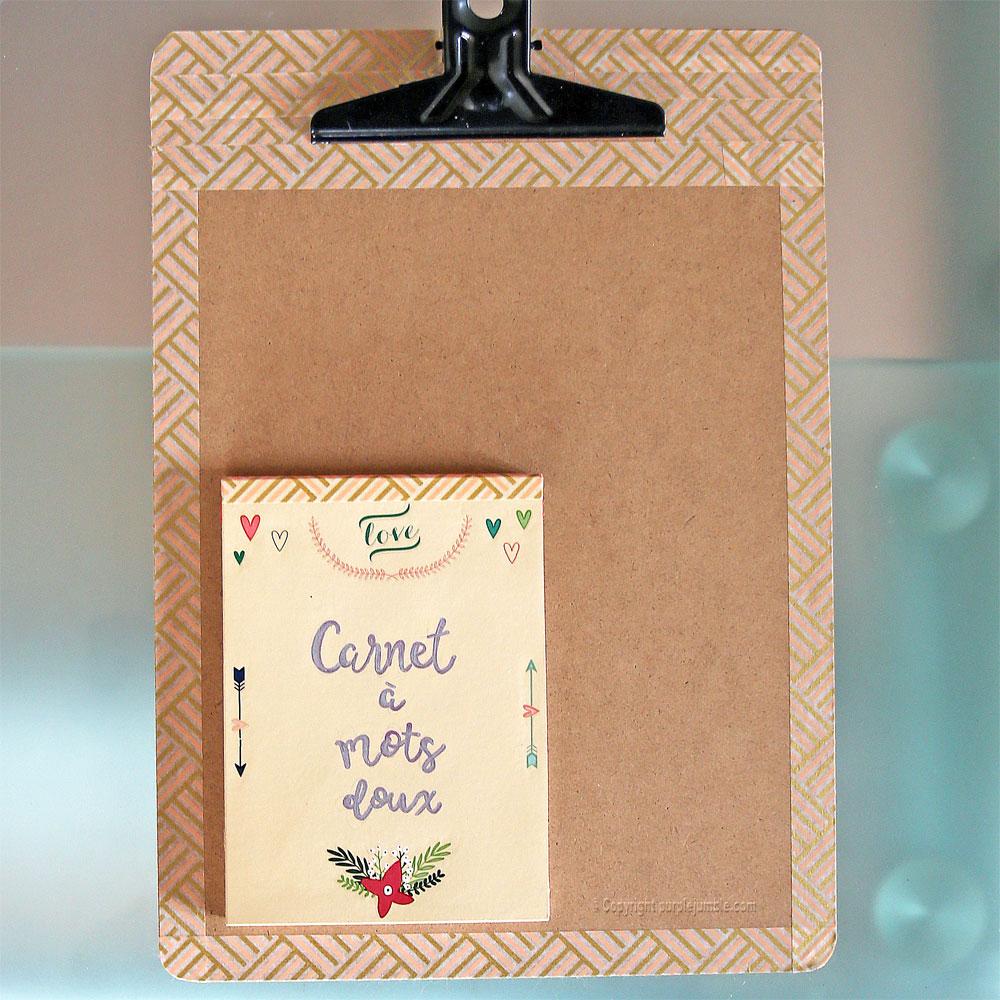 diy carnet à mots doux customisé panneau