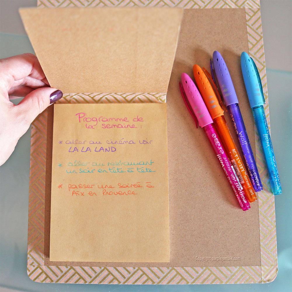 diy carnet à mots doux customisé écritures
