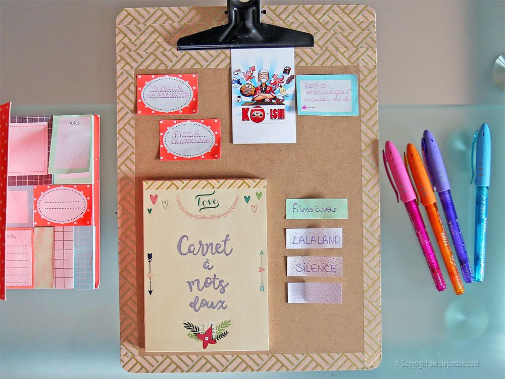 diy carnet à mots doux customisé stickers