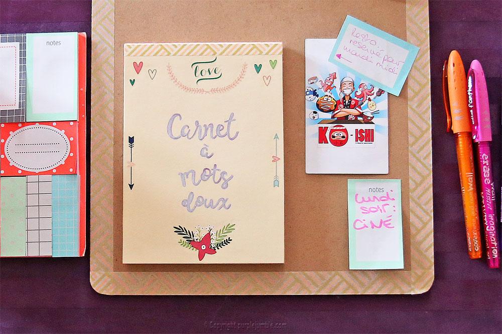 diy carnet à mots doux customisé stickers fini