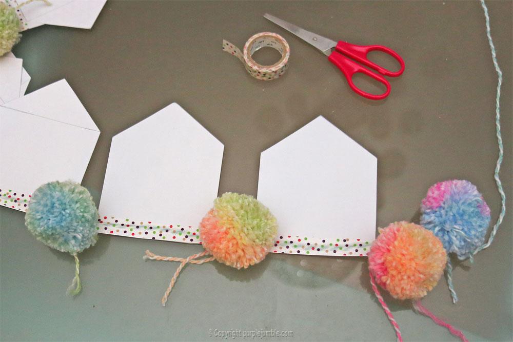 diy guirlande fanions papier pompons arc en ciel