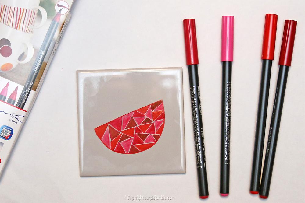 diy céramique fruits géométriques pastèque