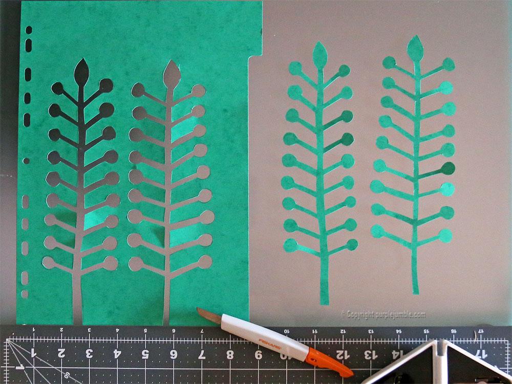 bouquet plantes papier vert foncé découpées