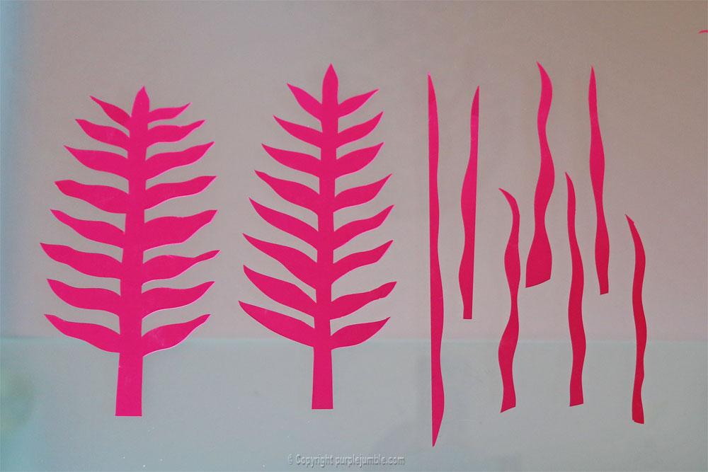 bouquet plantes papier fushia découpées