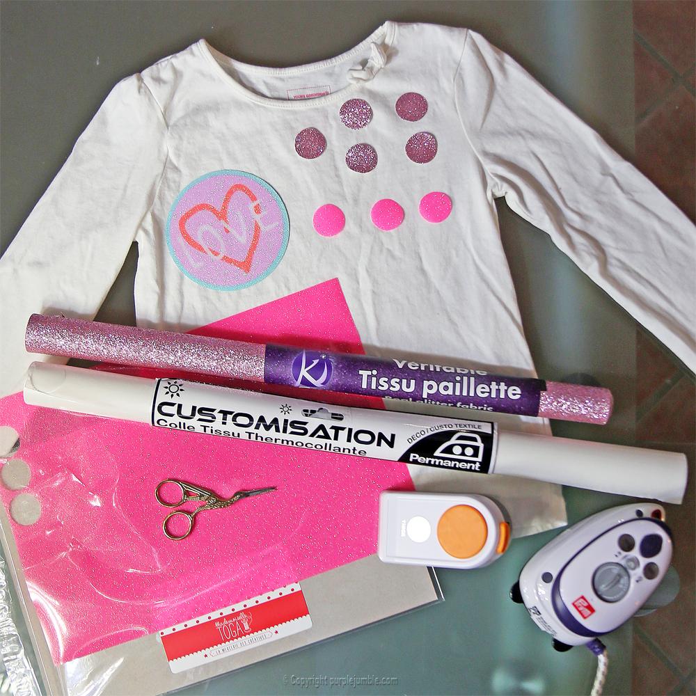 diy customisation t-shirt paillettes matériel