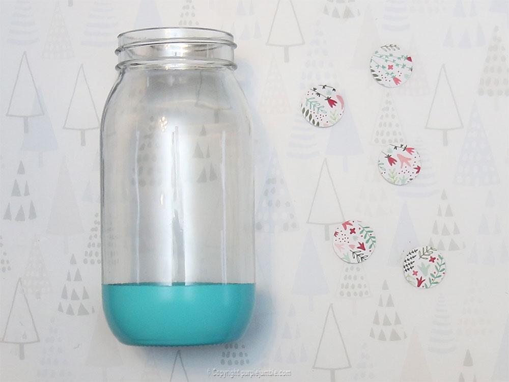 pot en verre décoré peint