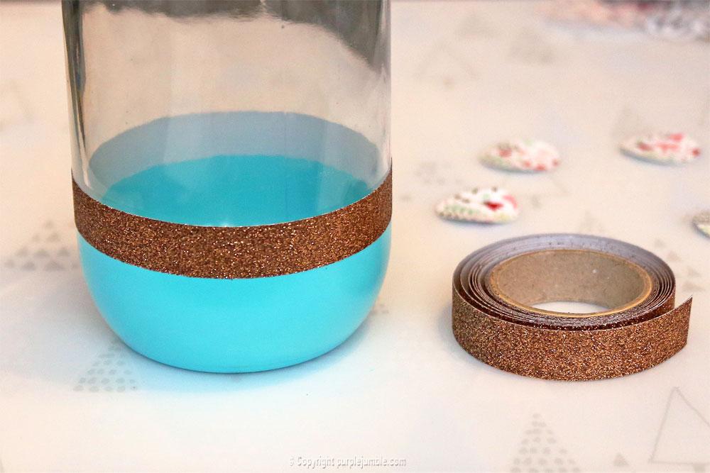 pot en verre décoré masking tape