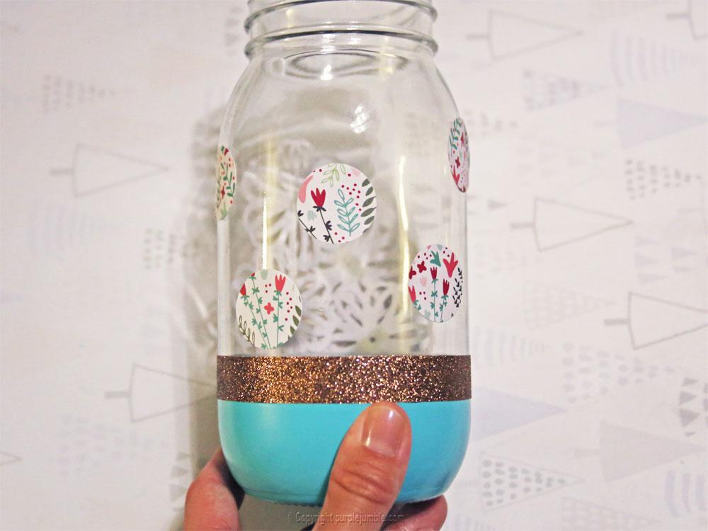 pot en verre décoré ronds pot