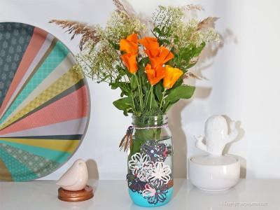 pot en verre décoré vase