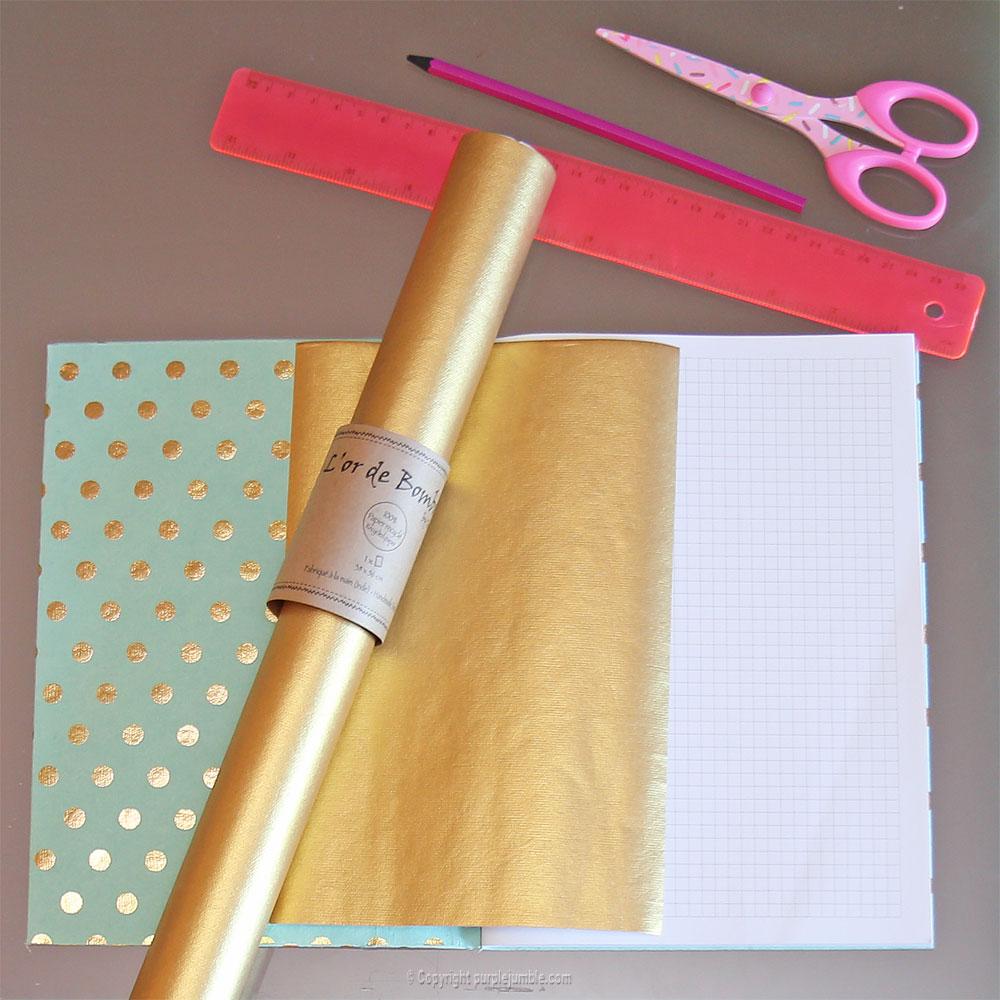 diy toga cahier customisé doré