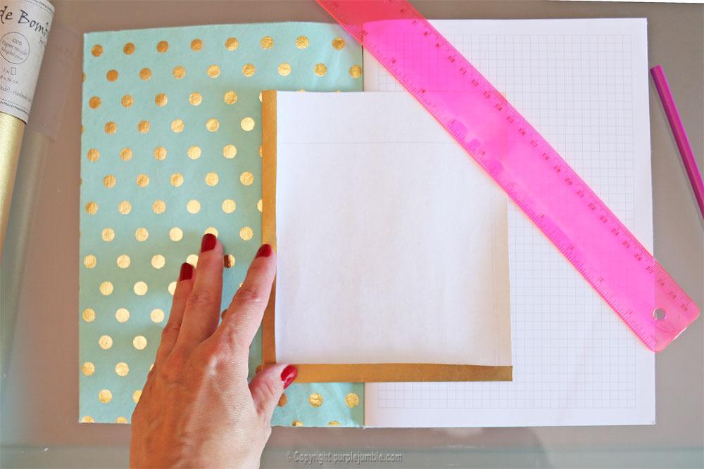 diy toga cahier customisé pochette dorée