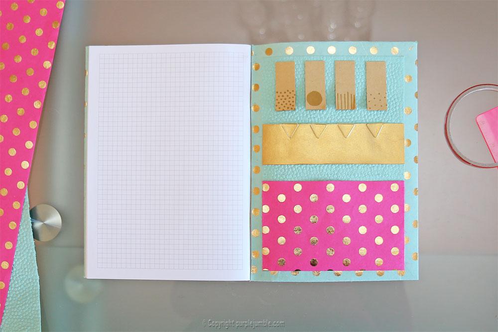 diy toga cahier customisé pochette fushia