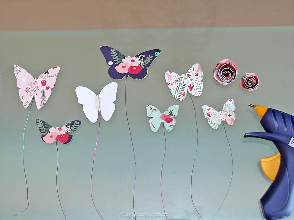 diy papillons papier terrarium fil métal