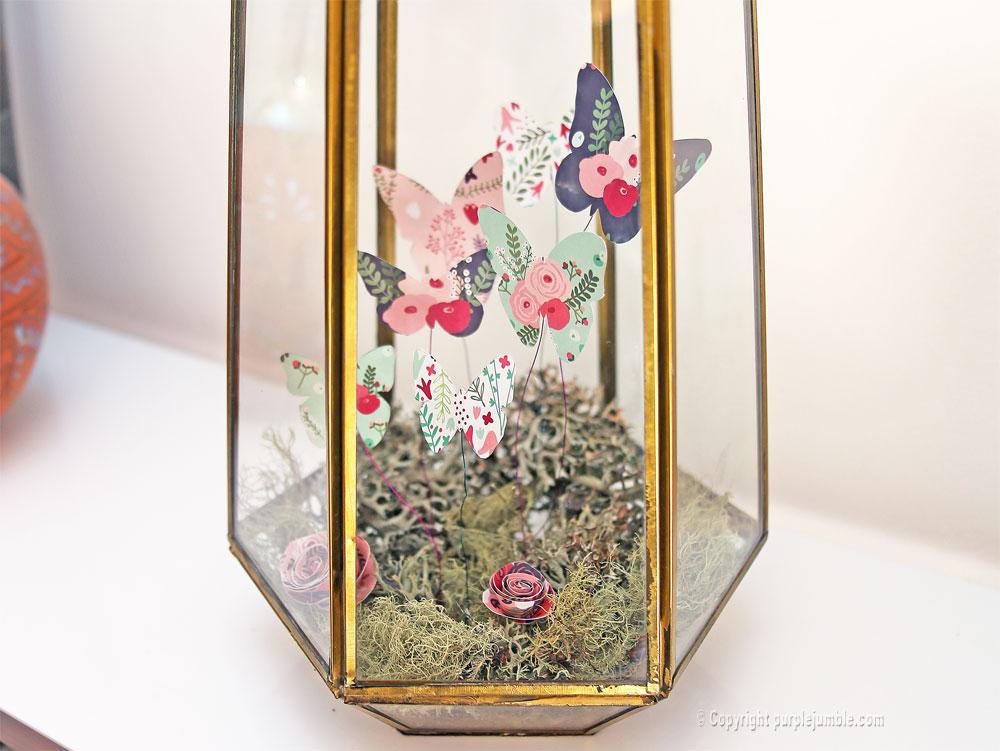 diy papillons papier terrarium détail