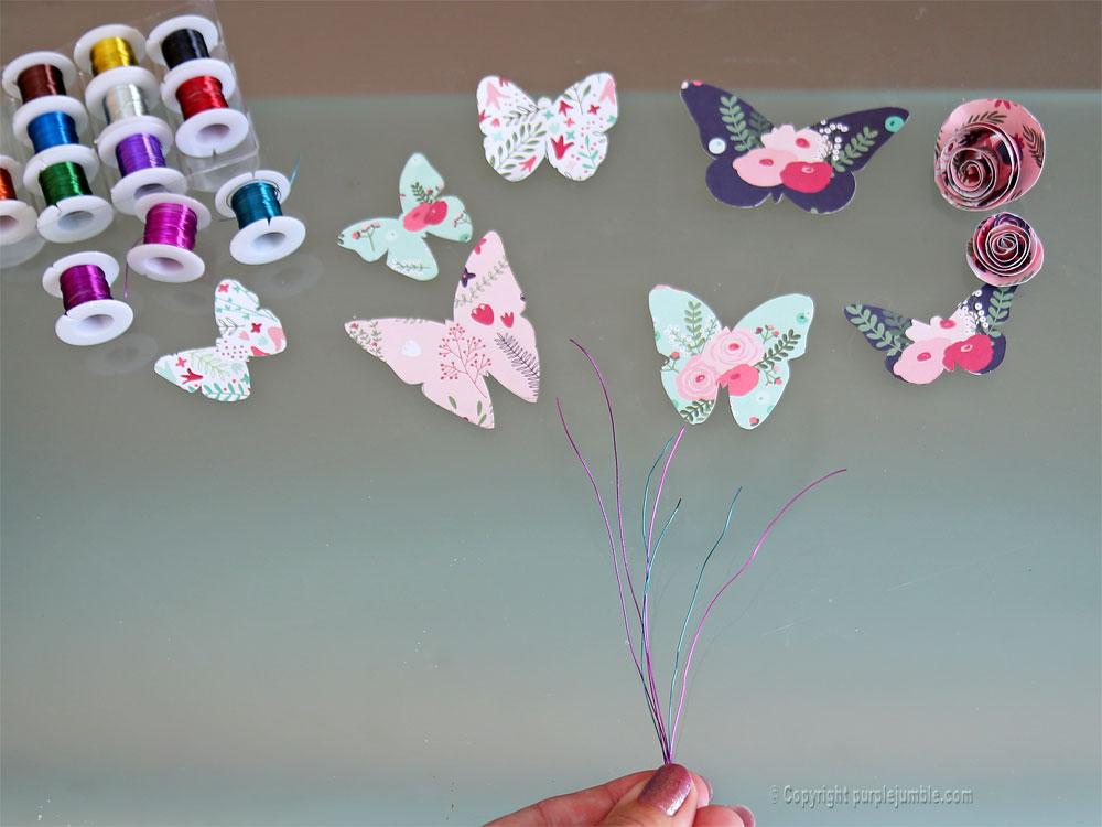 diy papillons papier terrarium fils