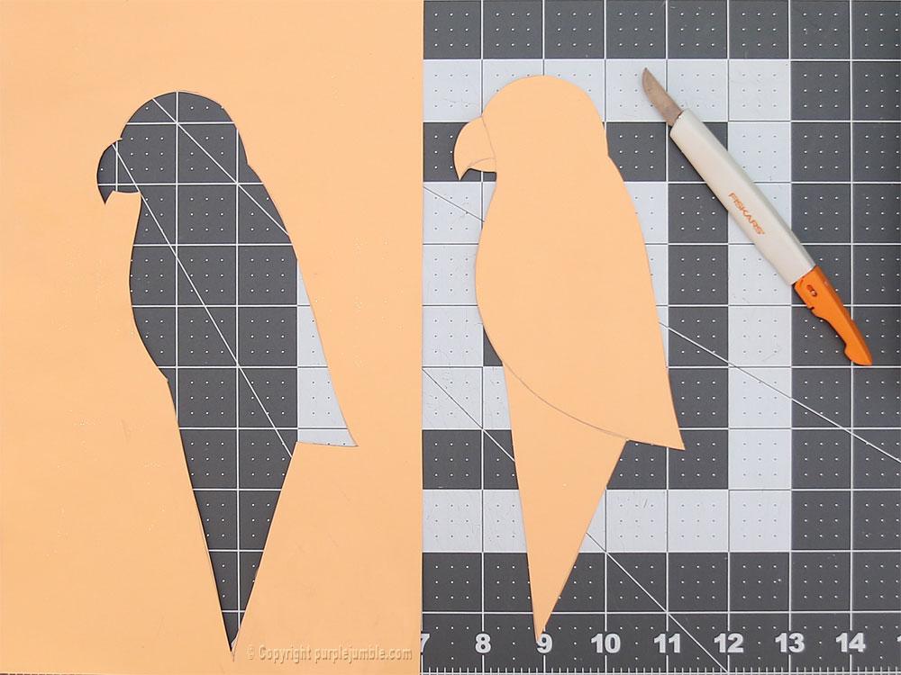 perroquet papercut découpe