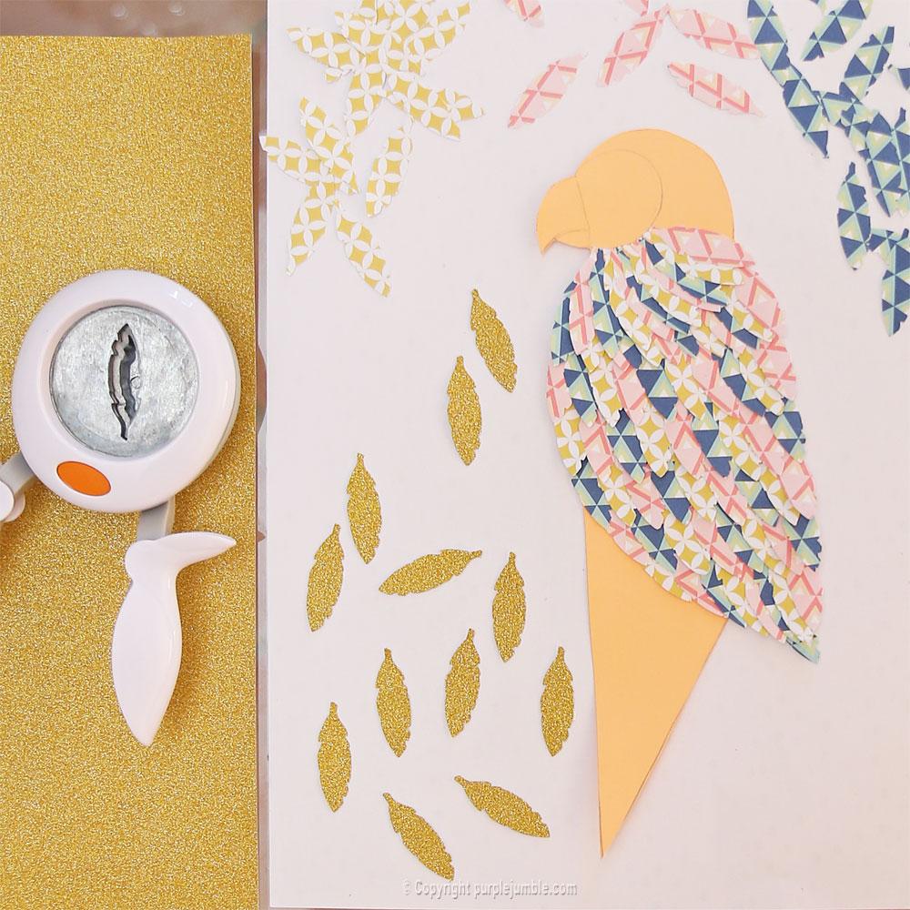 diy perroquet papercut plumes dorées