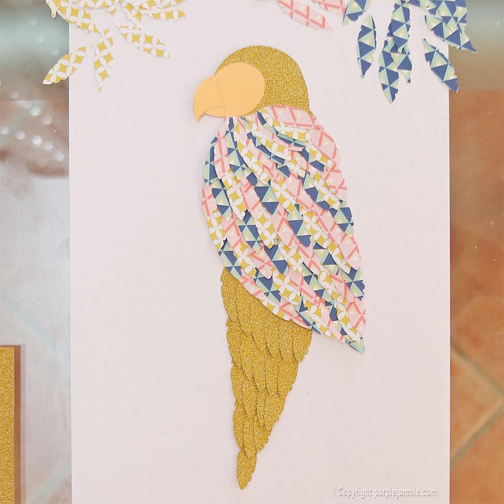perroquet papercut doré