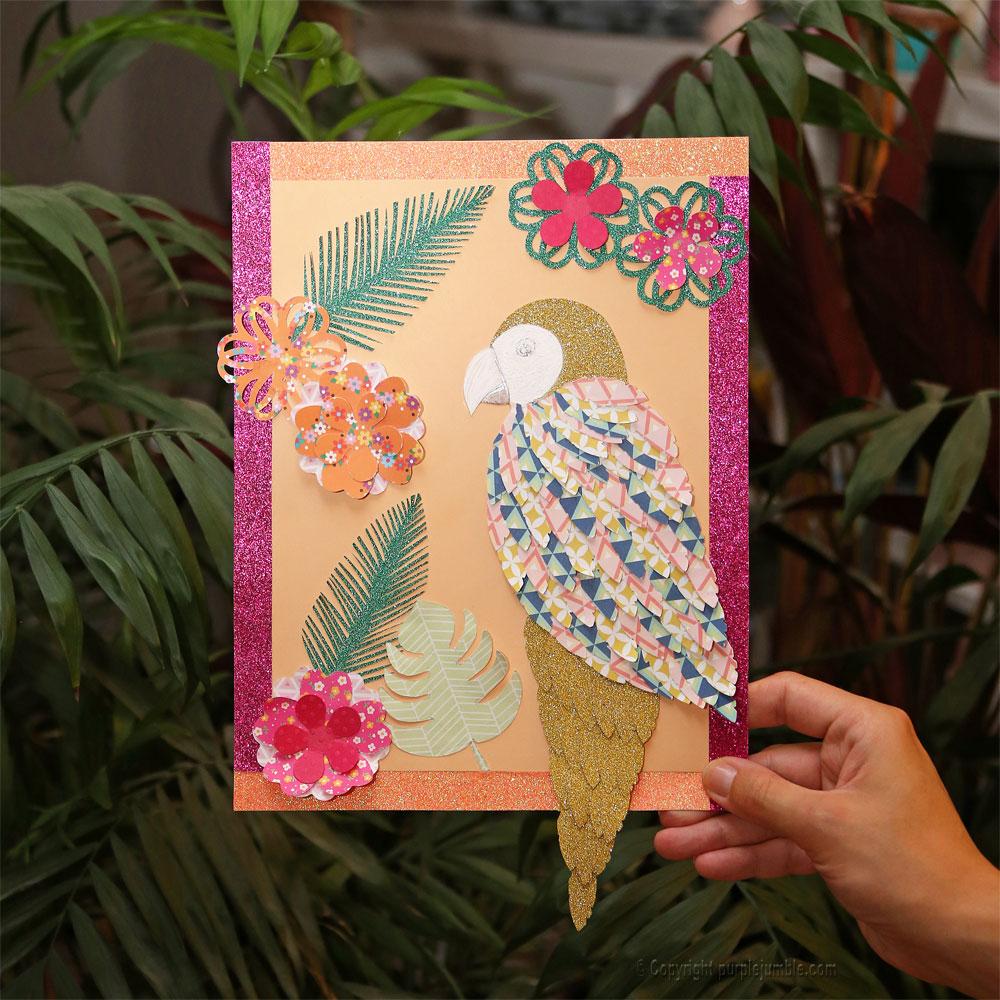 diy perroquet papercut cadre