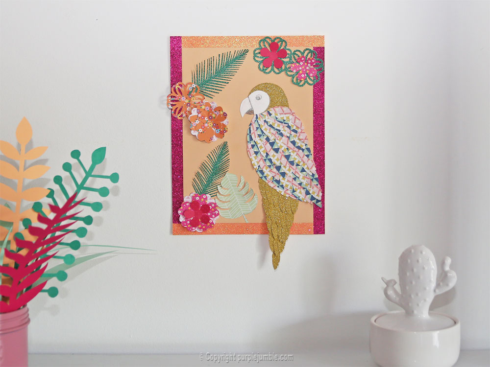 diy perroquet papercut photo finale mur