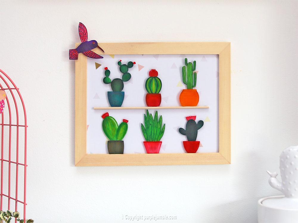 diy cadre cactus plastique dingue étagère