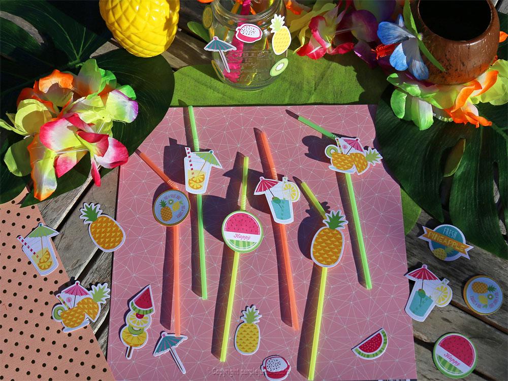 table tropicale vegaooparty pailles décorées