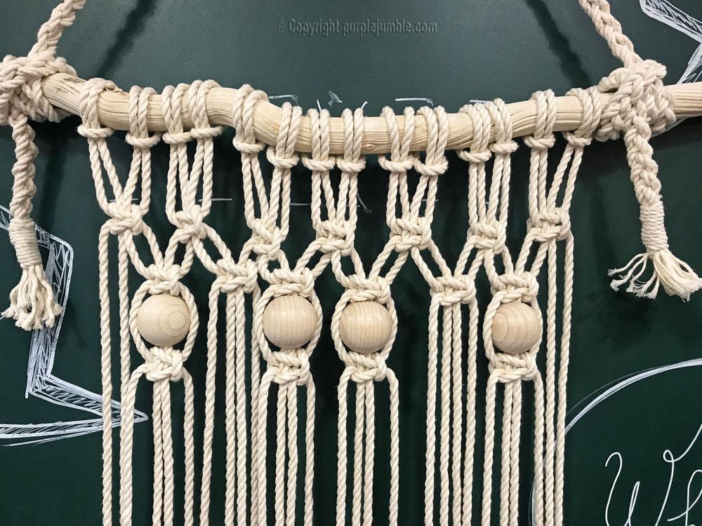 DIY suspension macramé atelier zodio perles bois