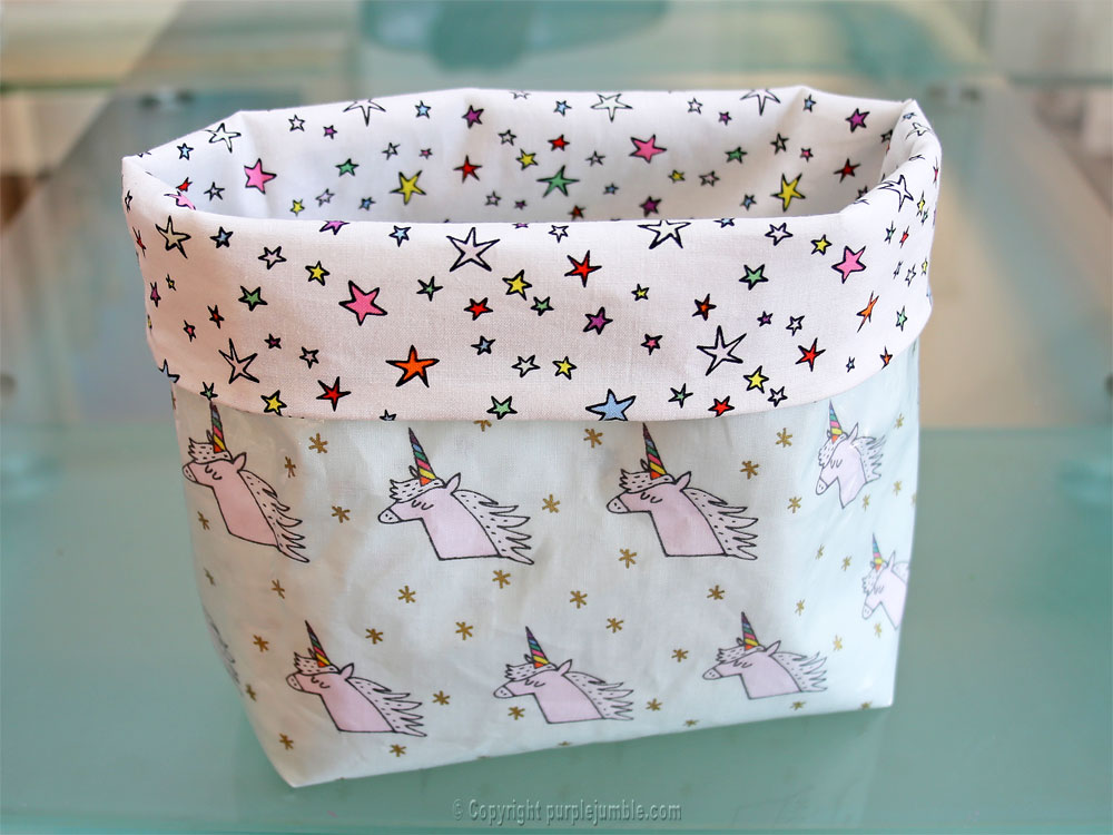 diy panier tissu enduit licorne rico design rabat