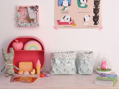 diy panier tissu enduit licorne rico design décoration