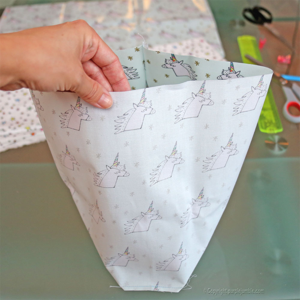 diy panier tissu enduit licorne rico design cousu