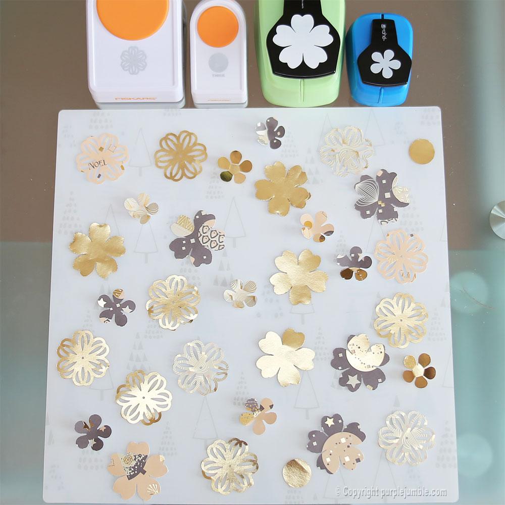 diy couronne fleurs papier noël perforatrices