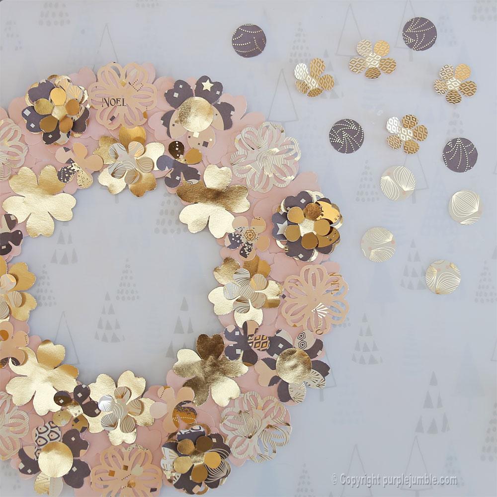 diy couronne fleurs papier noël ronds