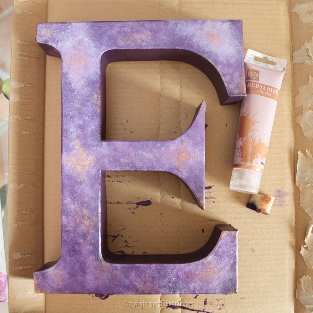 lettre carton peinture galaxie diy cuivré