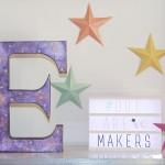 lettre carton peinture galaxie diy décoration
