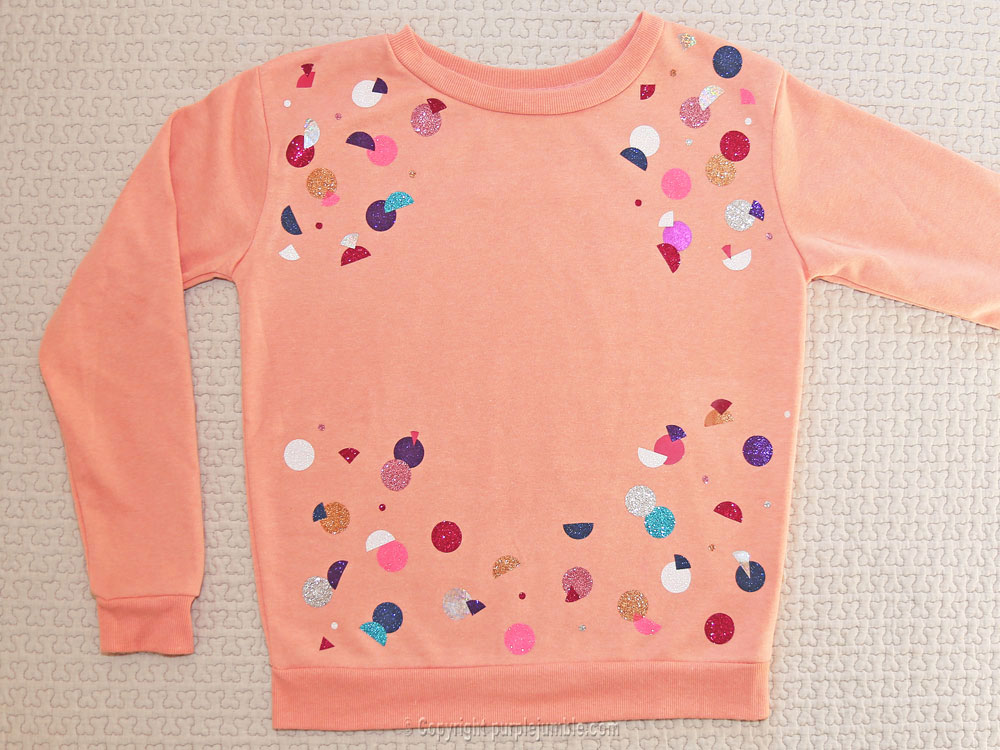 diy sweat customisé ronds paillettes fini