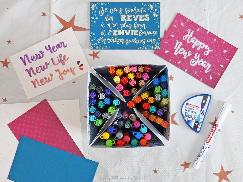 diy cartes de vœux edding handlettering box