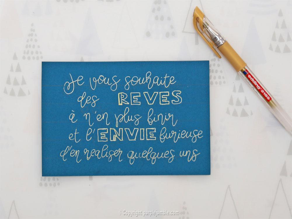 diy cartes de vœux edding handlettering écriture
