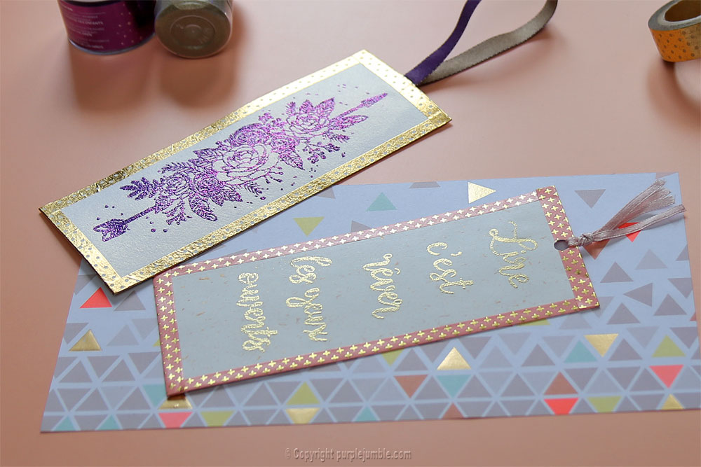 diy marque pages embossage reflets